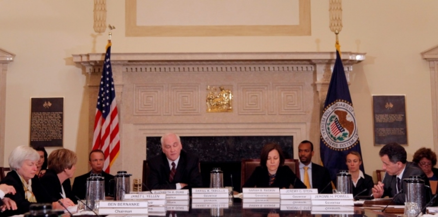 A meeting of the Federal Reserve Board of Governors at the Federal Reserve in Washington. (AP Photo/Charles Dharapak)