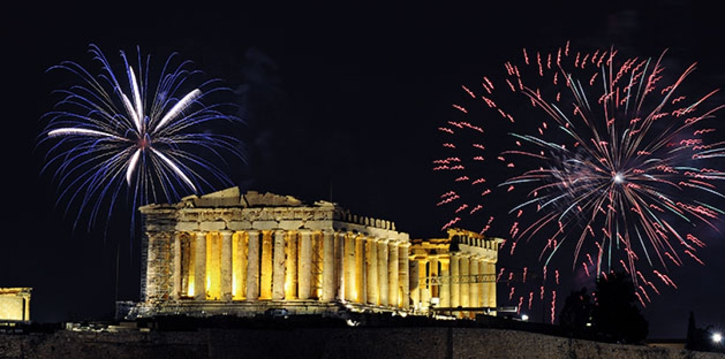 Fireworks over the Parthenon temple of Athens for New Year celebration. (Shutterstock)