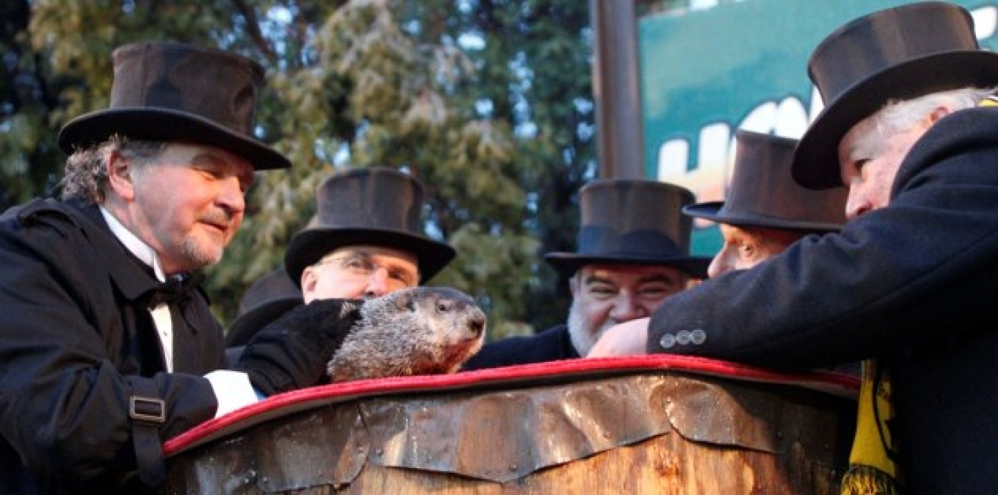 In the 1993 film Groundhog Day, Bill Murray plays a TV weather reporter who's trapped in a time loop, endlessly covering the dreaded annual event based on the real-life weather-predicting rodent Punxsutawney Phil (shown here in a 2011 ceremony in Punxsutawney, Pa. AP Photo/Keith Srakocic).