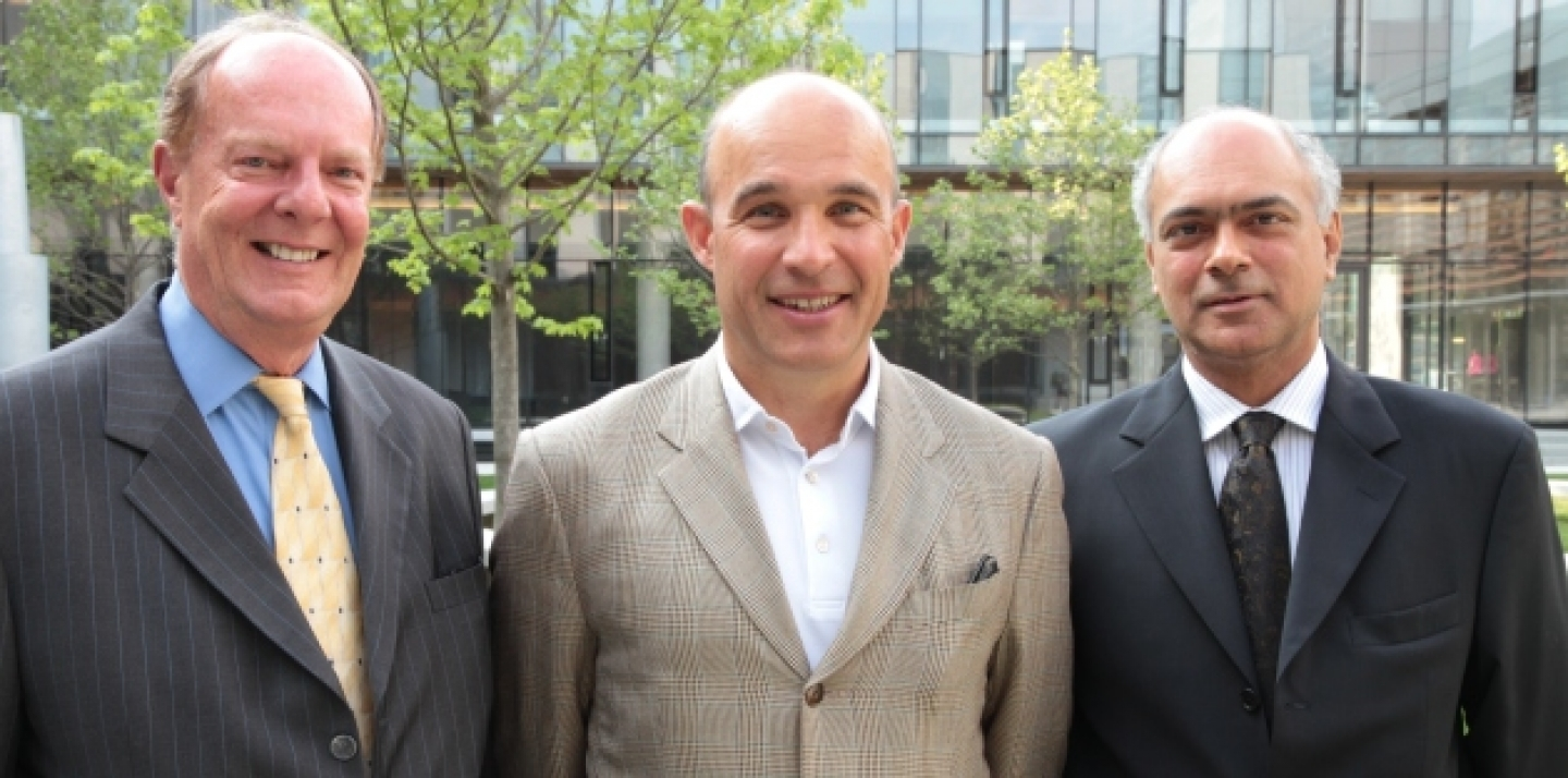 Outgoing CIGI Executive Director Thomas A. Bernes, Chair of the Board Jim Balsillie and incoming President Rohinton Medhora (Kris Young, CIGI Photo)