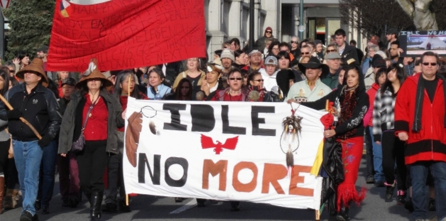 Idle No More protesters marching along Government Street in Victoria, on December 21, 2012. By r.a. paterson [CC-BY-SA-2.0 (http://creativecommons.org/licenses/by-sa/2.0)], via Wikimedia Commons