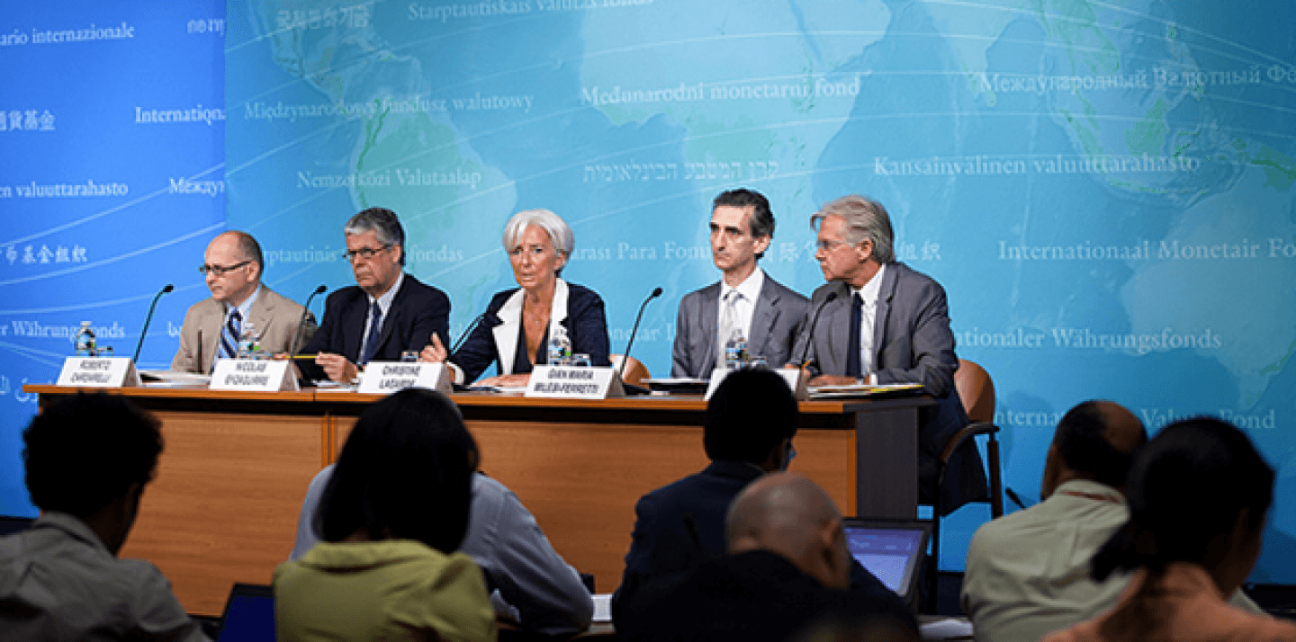 IMF management holds a joint press conference at the IMF Headquarters in Washington July 3, 2012 (IMF Staff Photograph/Stephen Jaffe)