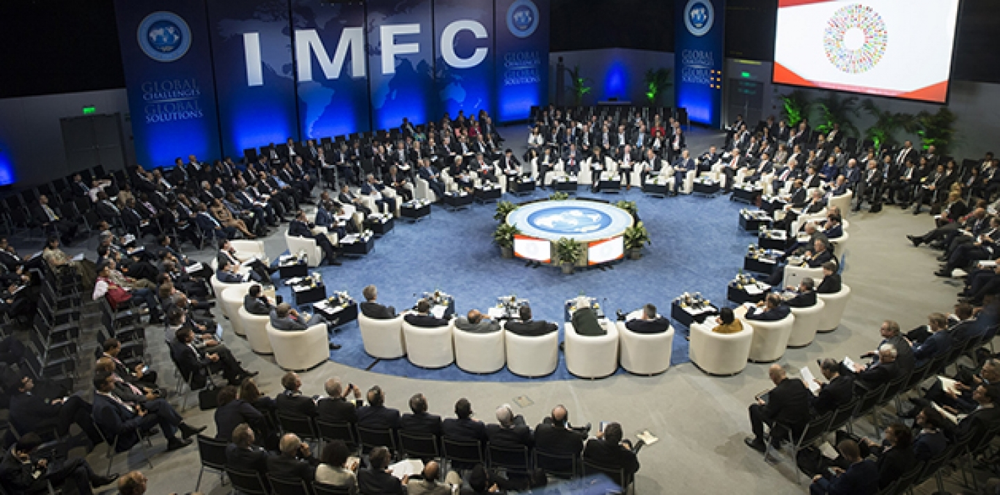 International Monetary Fund Managing Director Christine Lagarde speaks at the IMFC meeting October 9, 2015 during the 2015 IMF/World Bank Annual Meetings in Lima, Peru. IMF Staff Photo/Stephen Jaffe