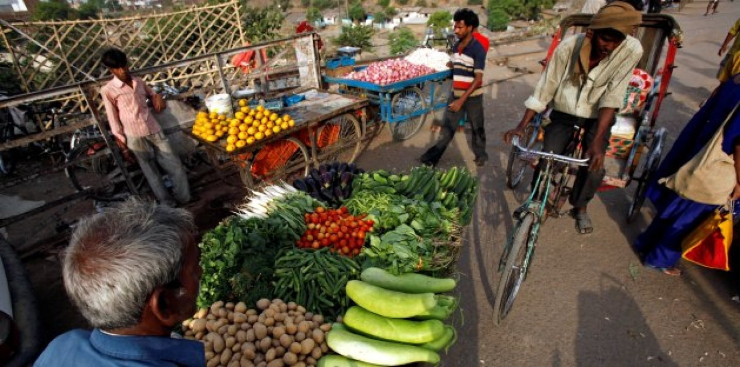 Vendors sell produce from carts in Allahabad, India. The country's inflation accelerated to a worse than expected 7.2 percent in April, on rising food and manufacturing prices (AP Photo/Rajesh Kumar Singh).
