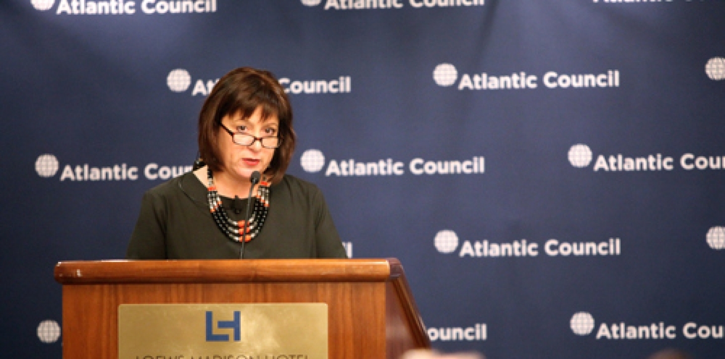 Outgoing Ukrainian Finance Minister Natalie Jaresko speaks on April 14 at an event hosted by the Atlantic Council and the Centre for International Governance Innovation in Washington. (Photo: Atlantic Council/Victoria Langton)