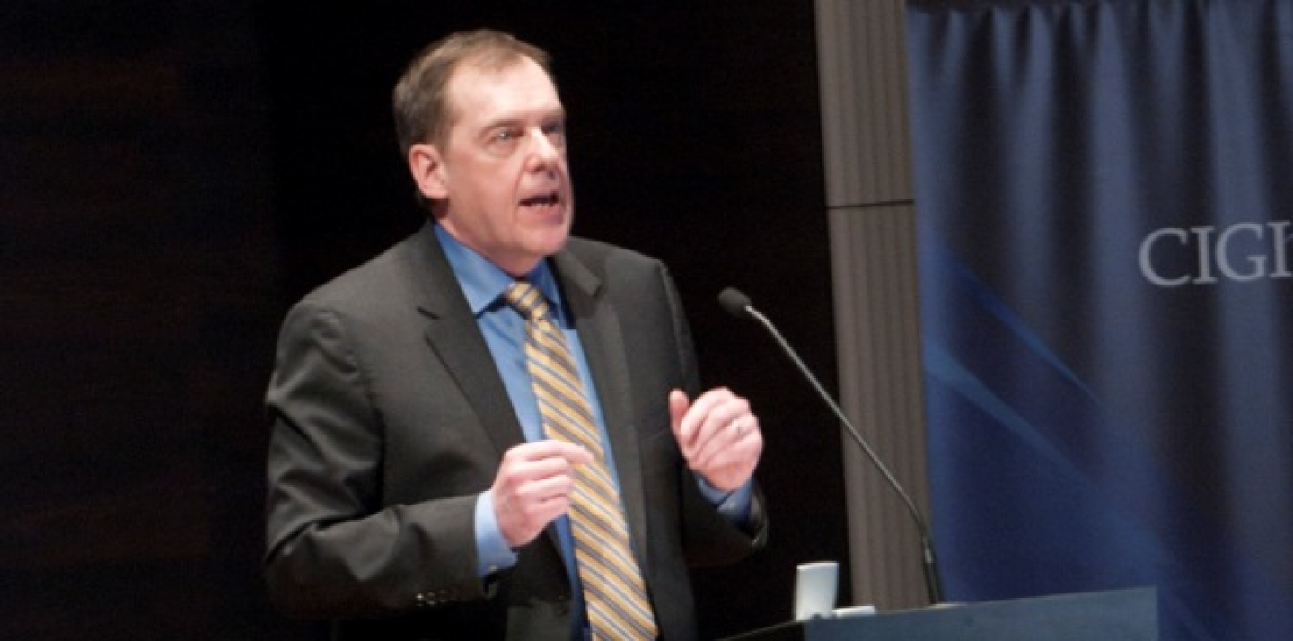 CIGI Senior Fellow John Ibbitson makes a point during his public lecture at CIGI. (Lisa Malleck/CIGI)