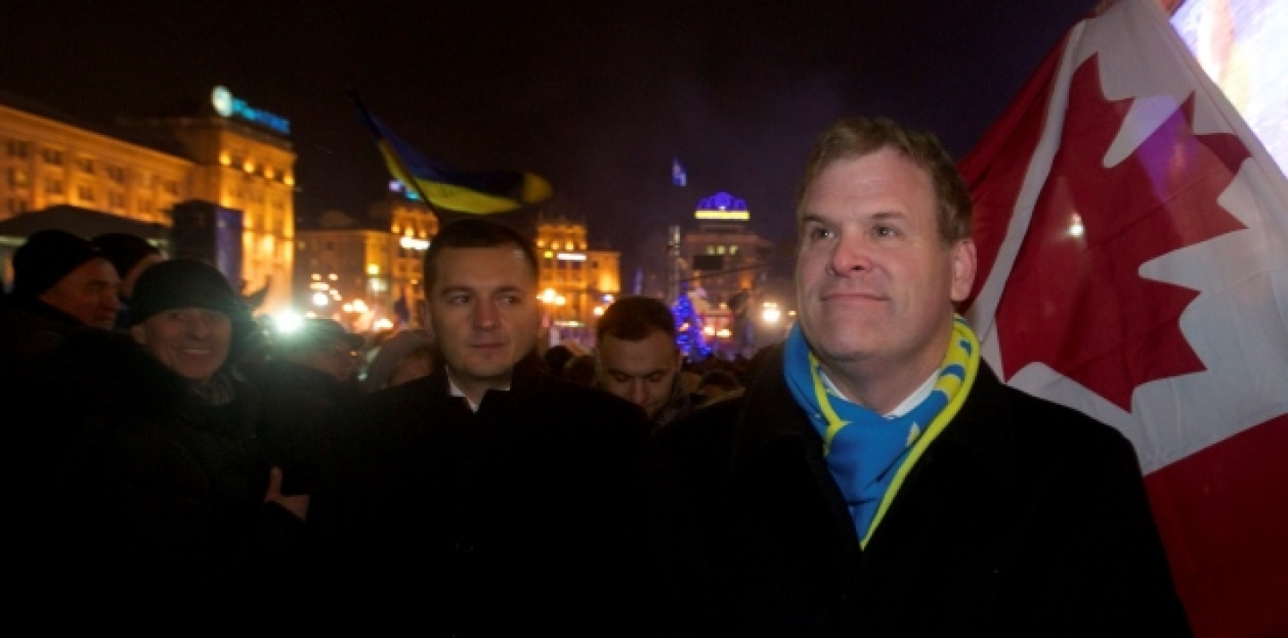 Canada's Foreign Minister John Baird visits the central Independence square in Kiev, Ukraine, Thursday, Dec. 5, 2013. (AP Photo/Sergei Chuzavkov)
