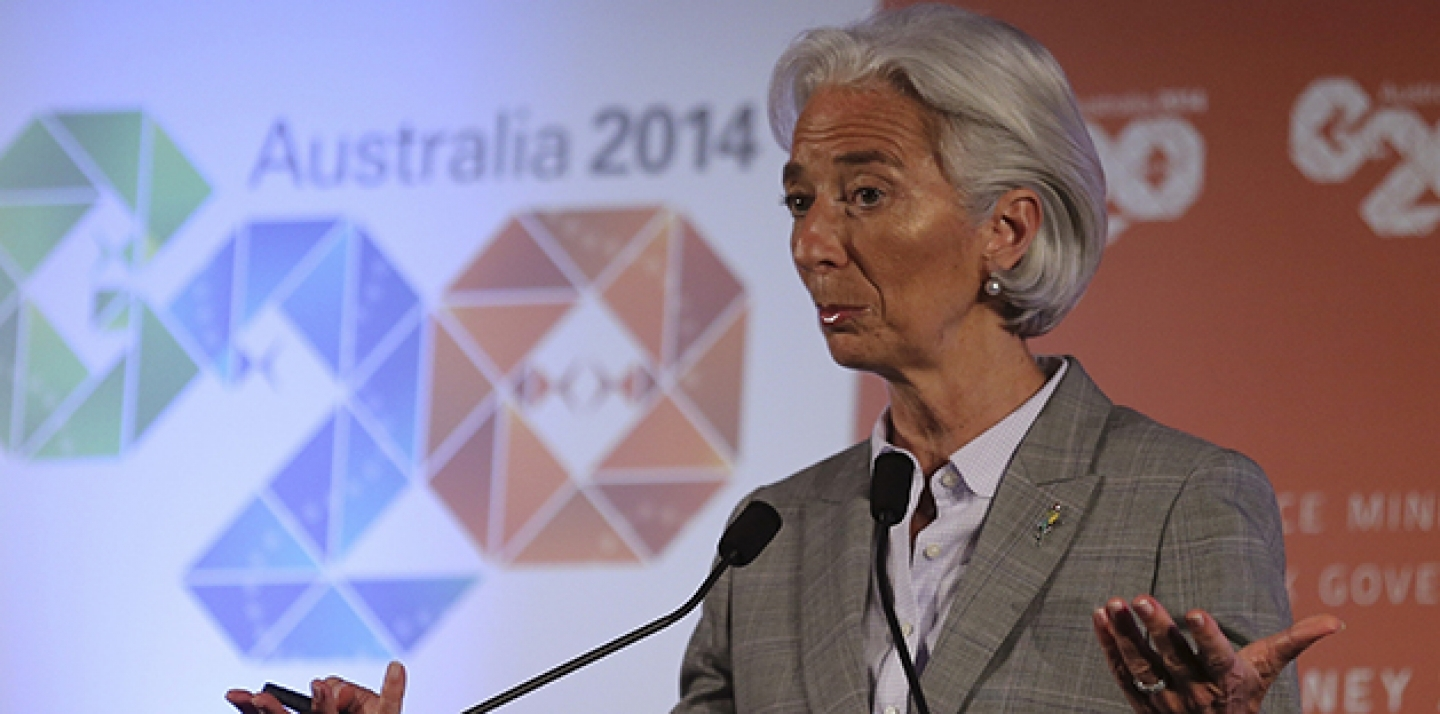 Christine Lagarde gestures as she delivers a closing statement during a press conference at the G-20 Finance Ministers and Central Bank Governors meeting in Sydney, Australia. (AP Photo/Rob Griffith)