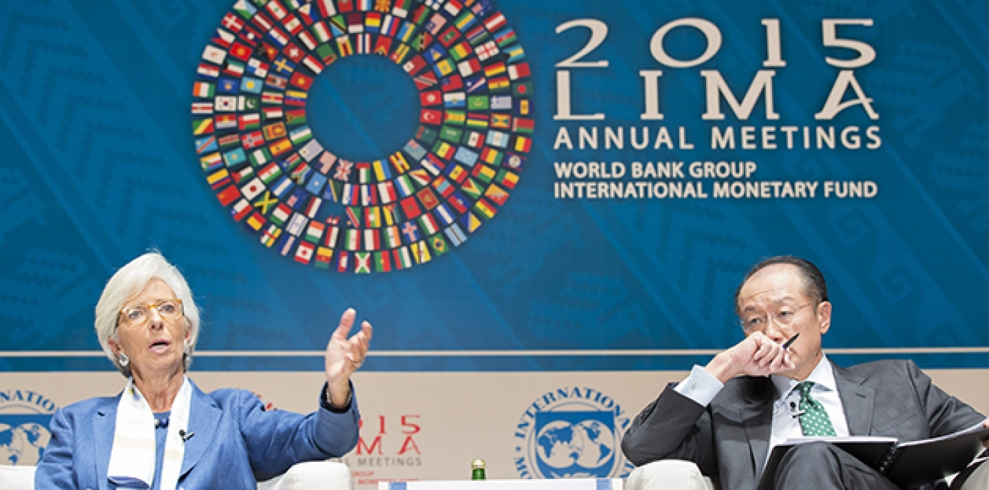 International Monetary Fund Managing Director Christine Lagarde and World Bank President Jim Yong Kim participate in a CNN panel discussion on Climate Change at the National Theater October 7, 2015 in Lima, Peru. IMF Staff Photo/Stephen Jaffe
