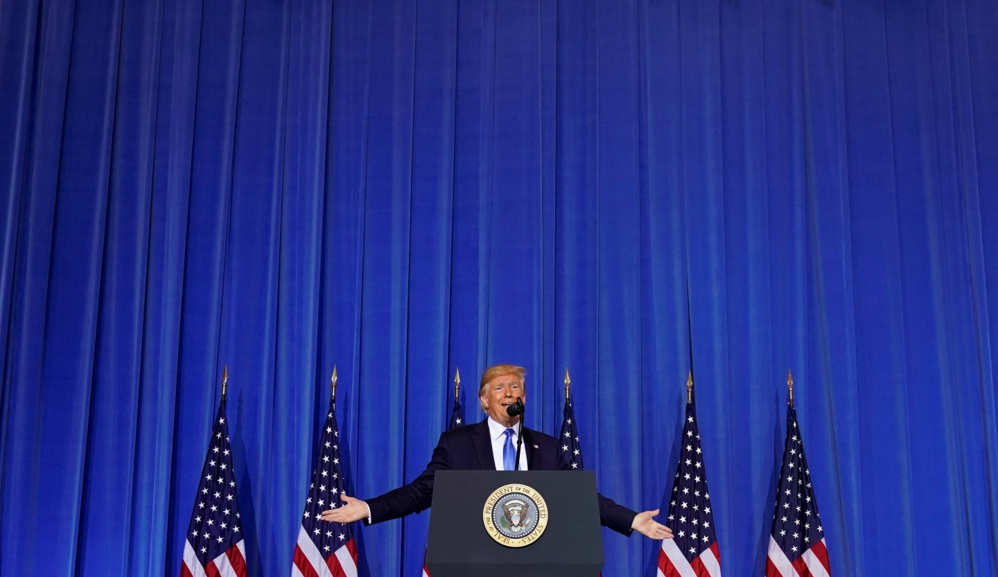 US President Donald Trump holds a news conference on the final day of the 2019 G20 leaders summit in Osaka, Japan. REUTERS/Kevin Lamarque