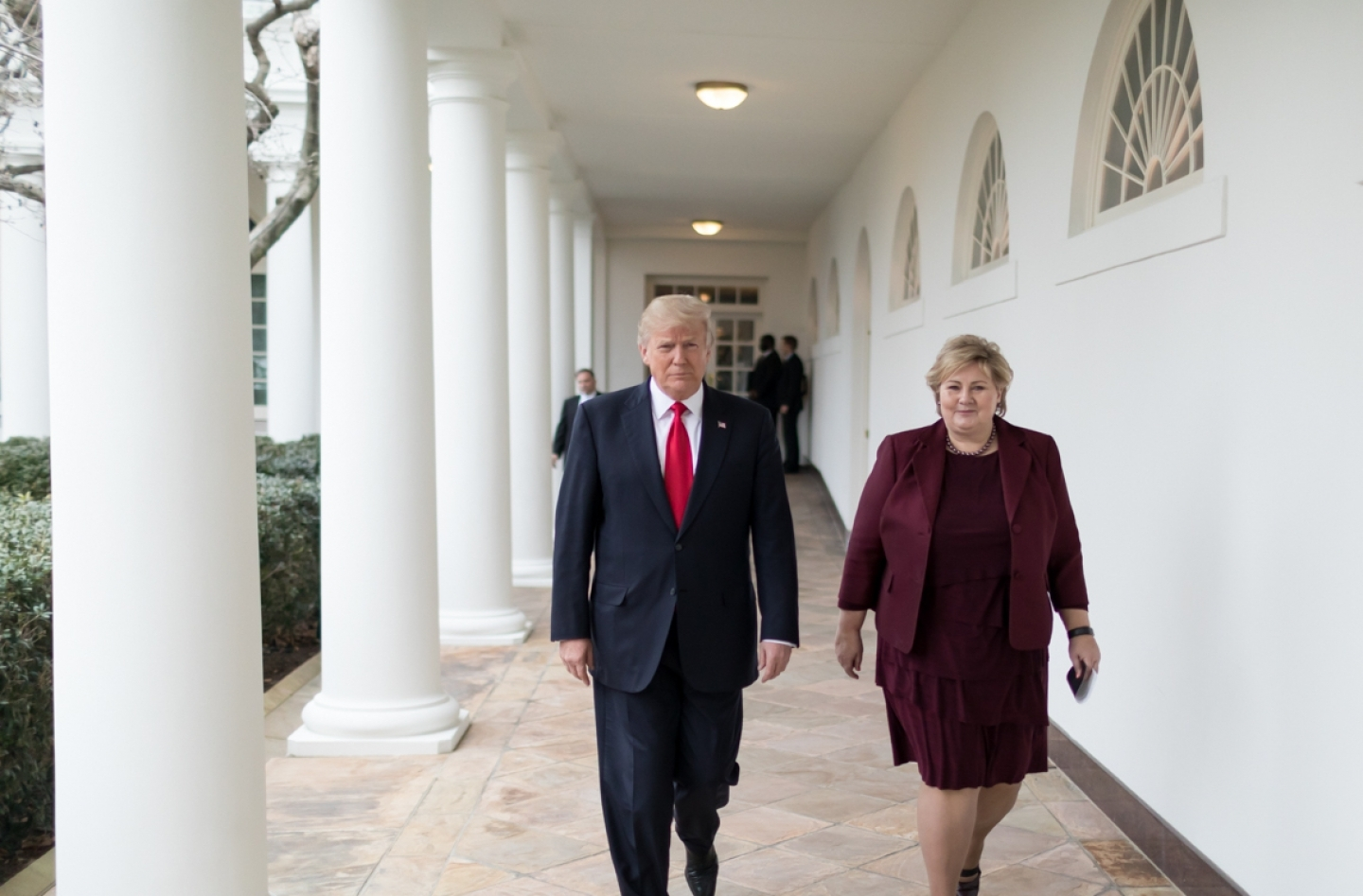 US President Donald Trump meets with Norwegian Prime Minister Erna Solberg on January 10, 2018 (White House Photo/D. Myles Cullen)
