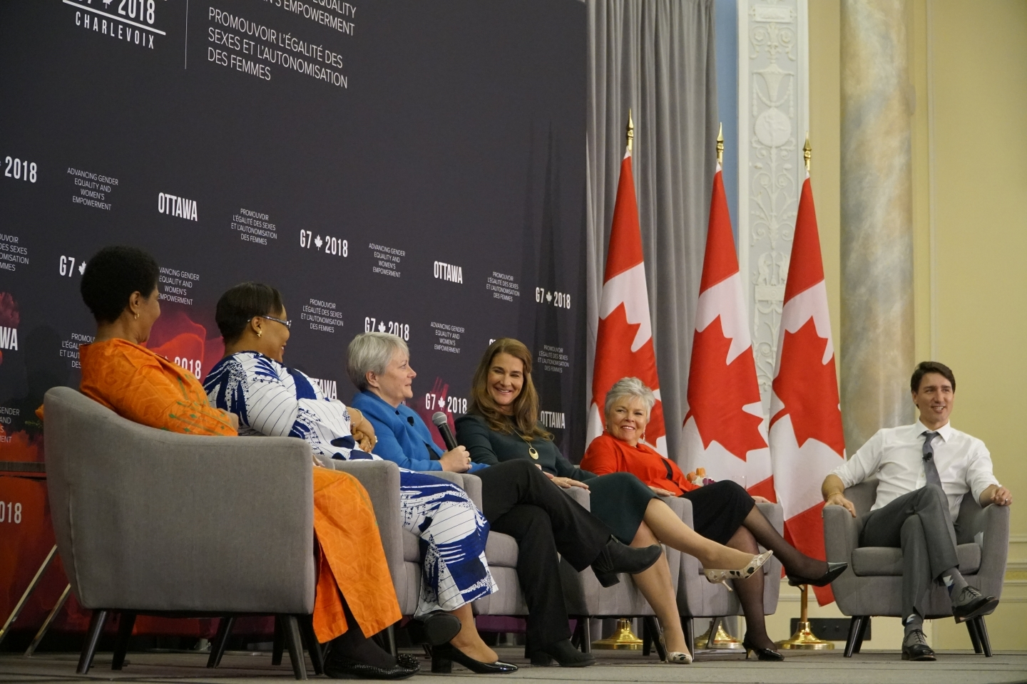Members of the Gender Equality Advisory Council speak with Justin Trudeau on April 26 in Ottawa. (Global Affairs Canada)