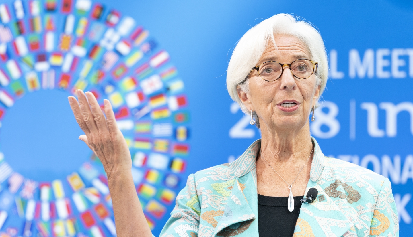 International Monetary Fund Managing Director Christine Lagarde speaks at the Annual Meetings curtain raiser at the IMF Headquarters October 1, 2018. (IMF Staff Photo/Stephen Jaffe)