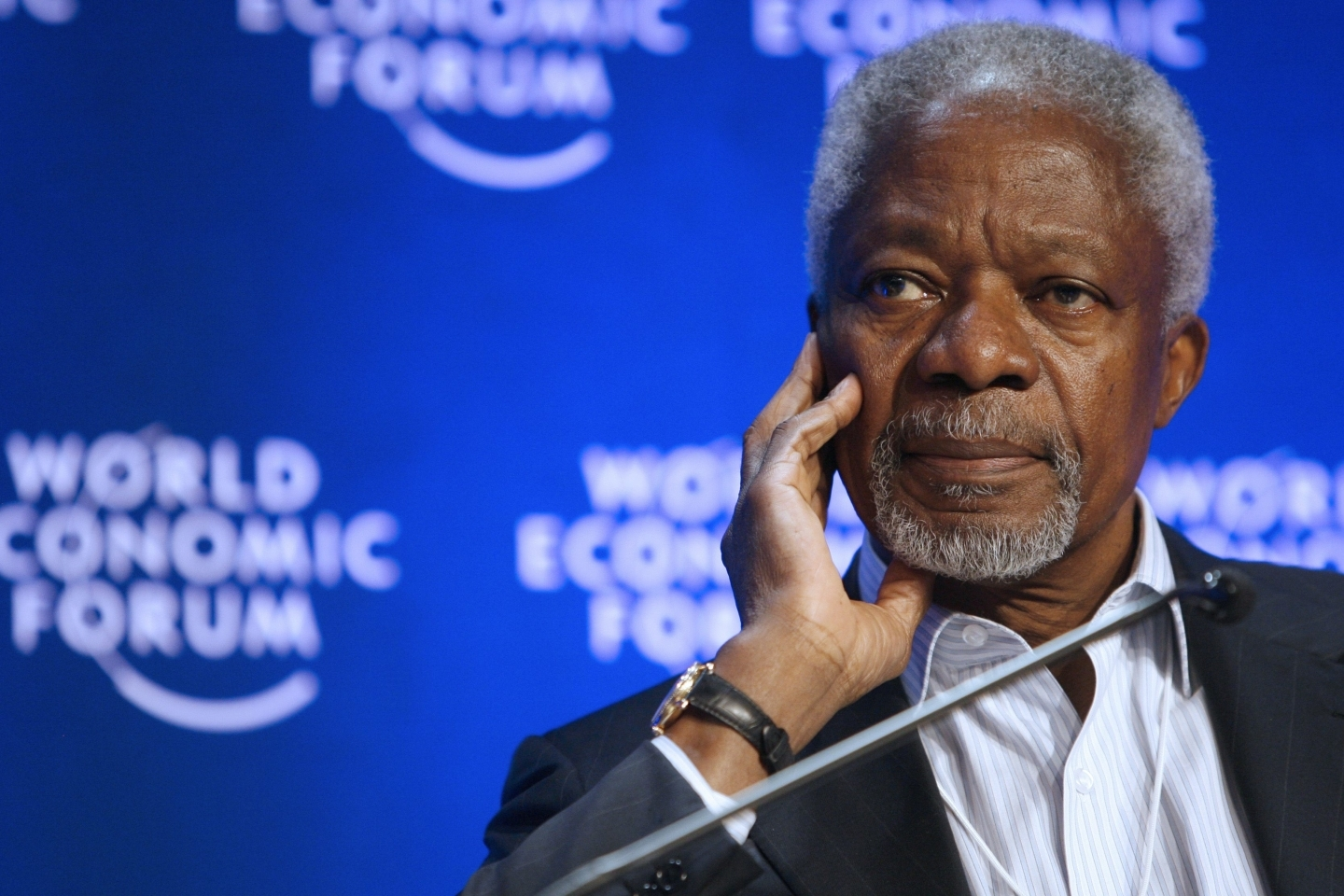 Kofi Annan, member of the Foundation Board of the World Economic Forum, in Davos, Switzerland (AP Photo/KEYSTONE/Alessandro Della Bella)