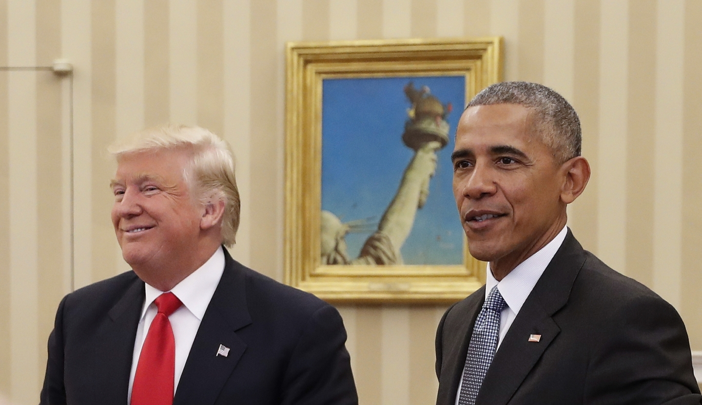 US President Barack Obama meets with President-elect Donald Trump in the Oval Office (AP Photo/Pablo Martinez Monsivais)