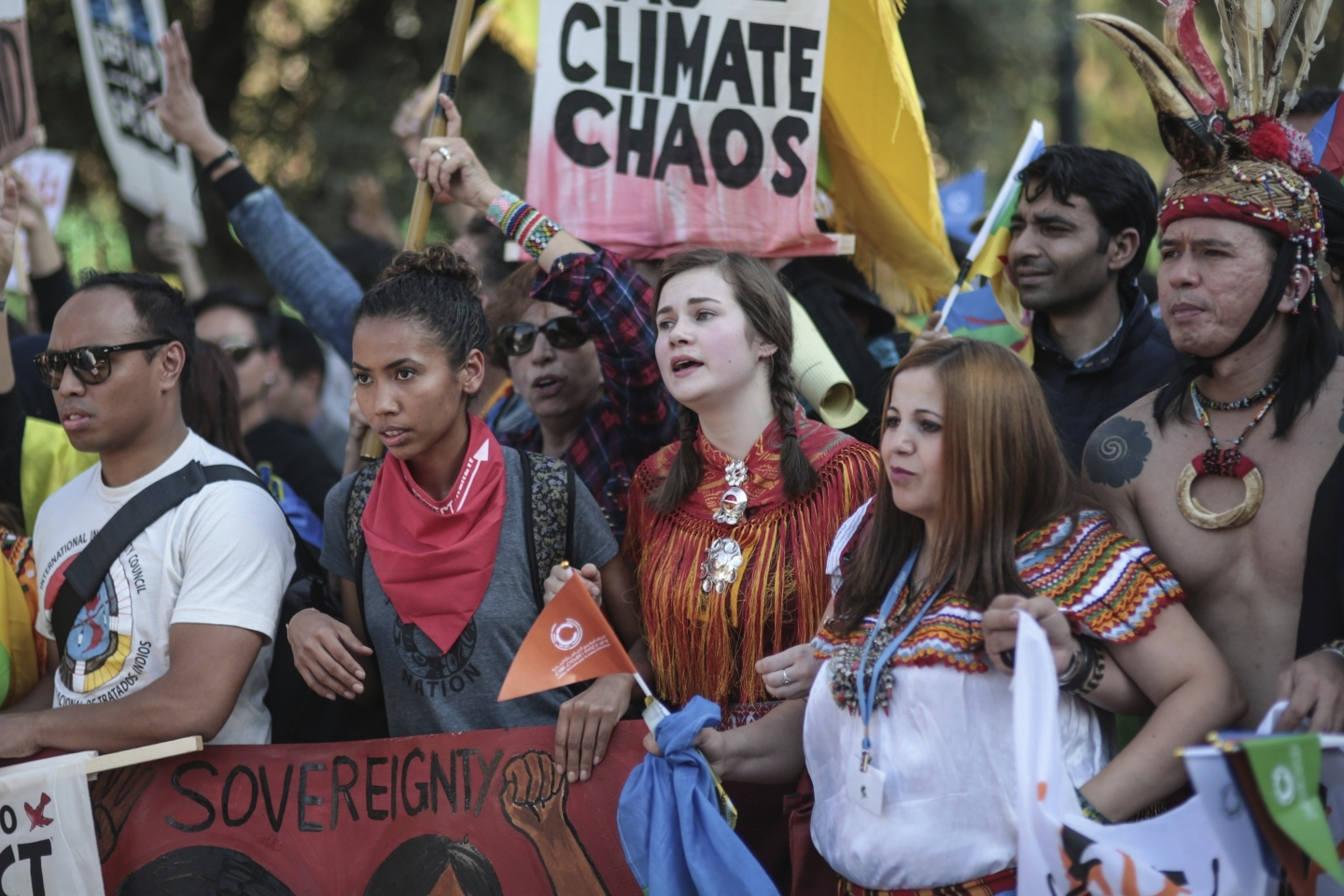 Hundreds urge world leaders to take actions in a march coinciding with the Climate Conference, known as COP22, taking place in Marrakech, Morocco (AP Photo/Mosa'ab Elshamy)