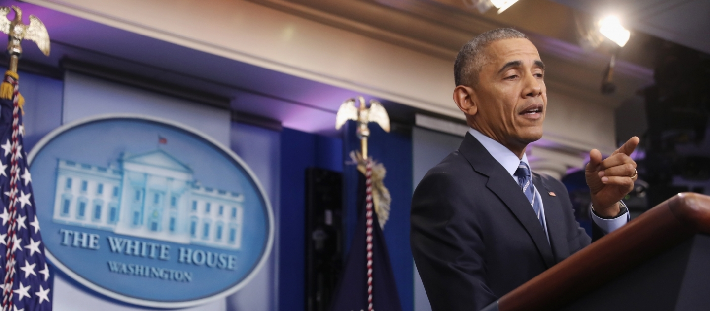 US President Barack Obama in the briefing room of the White House (AP Photo/Andrew Harnik)