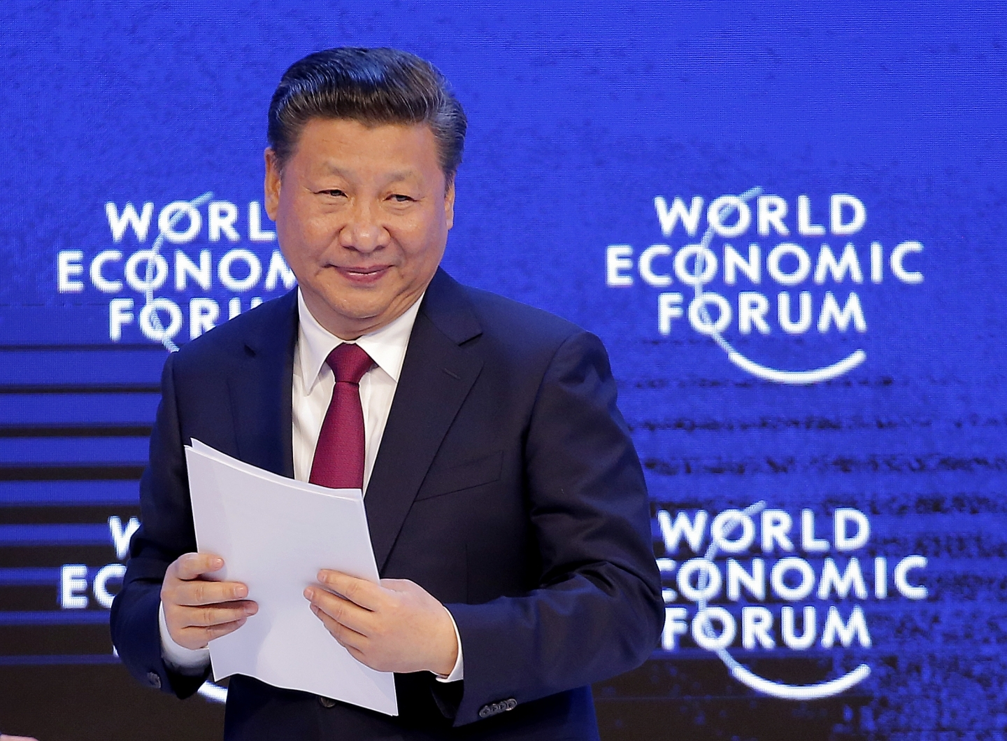 China's President Xi Jinping at the World Economic Forum in Davos, Switzerland (AP Photo/Michel Euler)