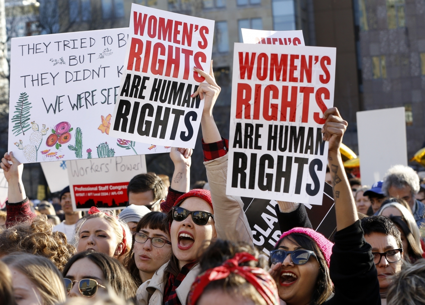 Women from labour organizations and other grassroots groups chant during a rally as part of International Women's Strike NYC. (AP Photo/Kathy Willens)