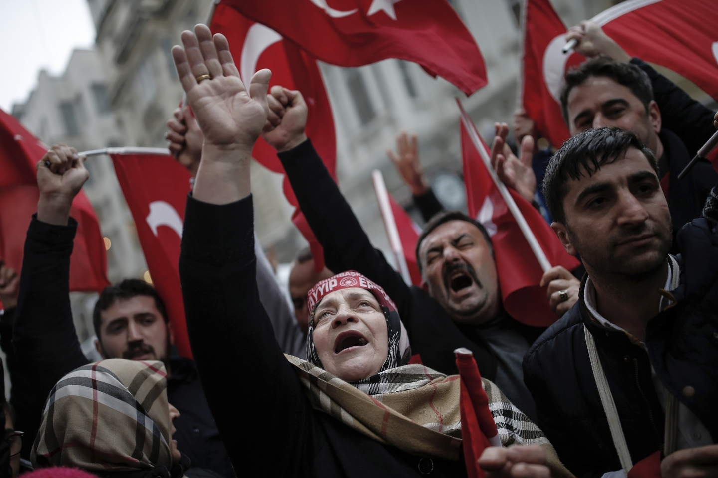 Protests outside the Dutch consulate in Istanbul (AP Photo/ Emrah Gurel)