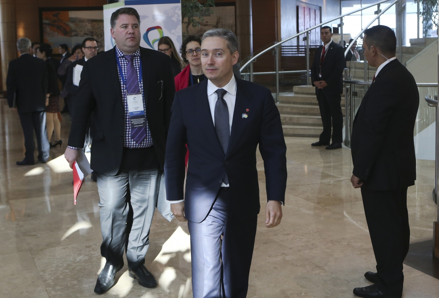 Francois-Philippe Champagne walks prior a meeting of the Trans-Pacific Partnership in Vina del Mar, Chile, Wednesday, March 15, 2017. (AP Photo/Esteban Felix)