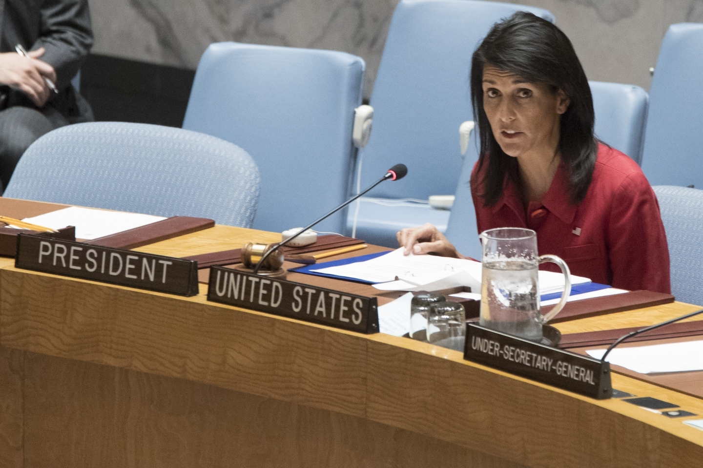 US Ambassador to the United Nations Nikki Haley speaks during a Security Council meeting on Syria (AP Photo/Mary Altaffer)