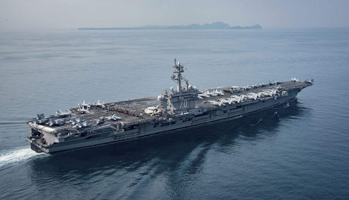 The US Navy aircraft carrier USS Carl Vinson transits the Sunda Strait (US Navy via AP)