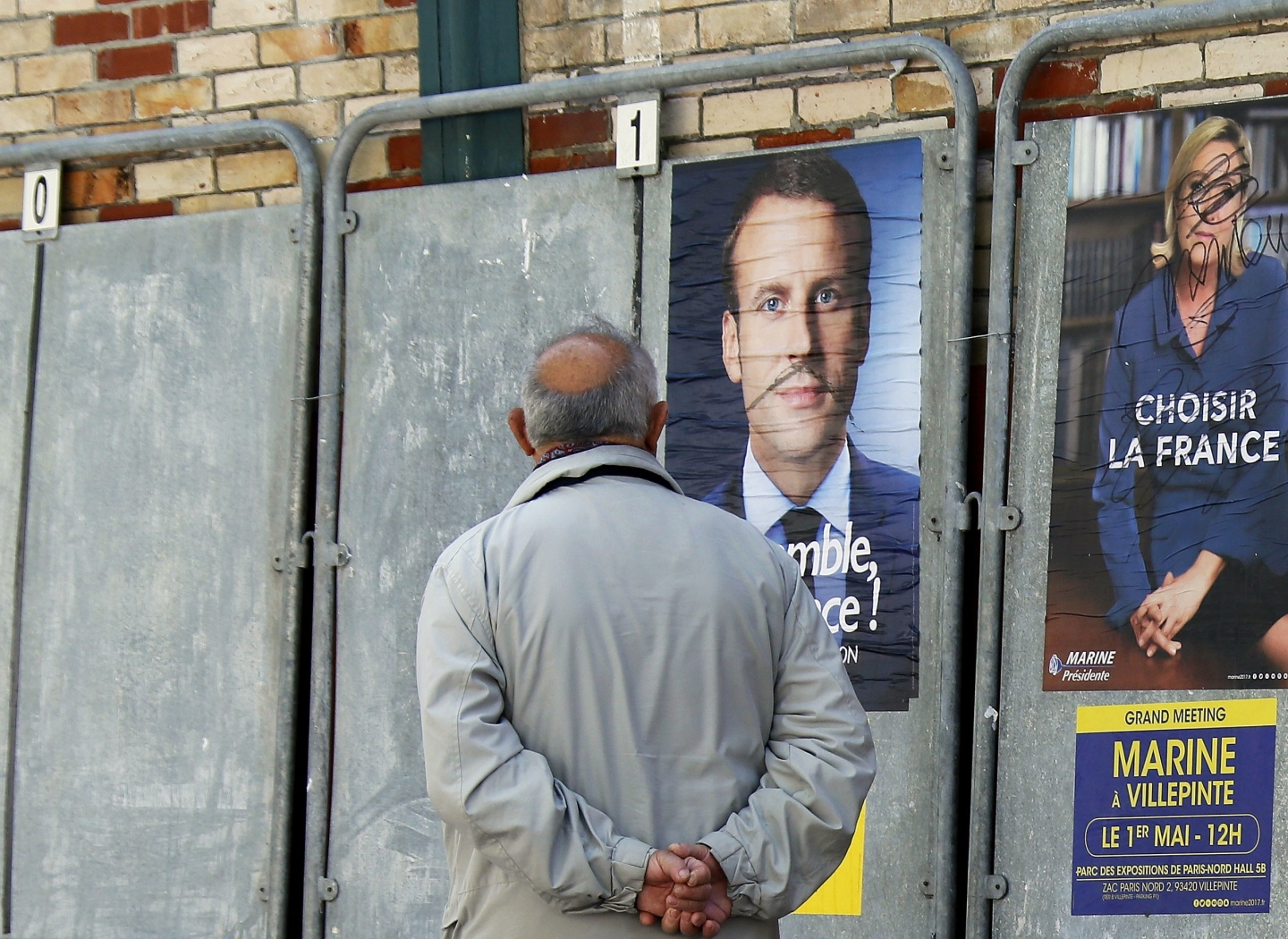 Election campaign posters in Saint Jean de Luz, southwestern France (AP Photo/Bob Edme)