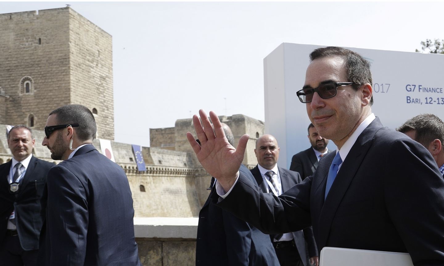 US Treasury Secretary Steven Mnuchin at G7 finance ministers meeting in Italy (AP Photo/Andrew Medichini)