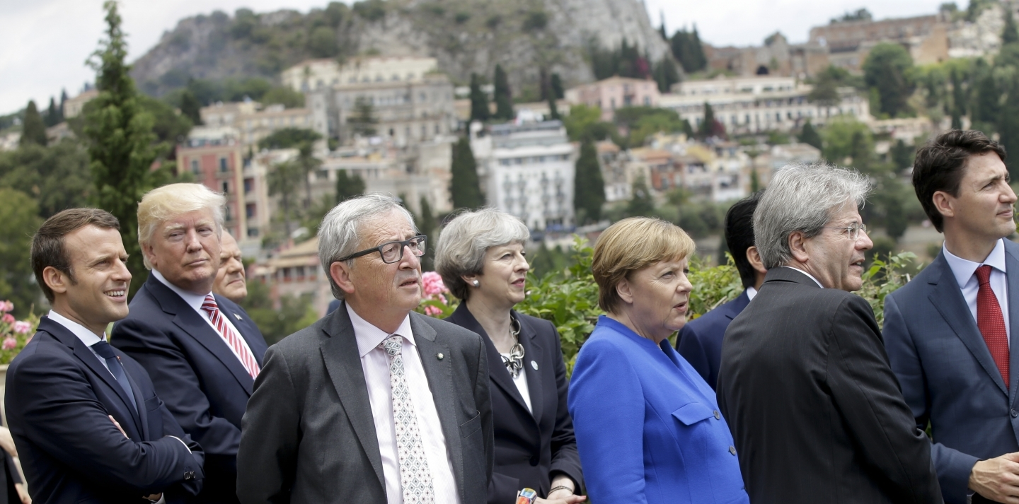 G7 Leaders Emmanuel Macron, Donald Trump, Donald Tusk, Jean-Claude Juncker, Theresa May, Angela Merkel, Shinzo Abe, Paolo Gentiloni and  Justin Trudeau  (AP Photo/Luca Bruno)