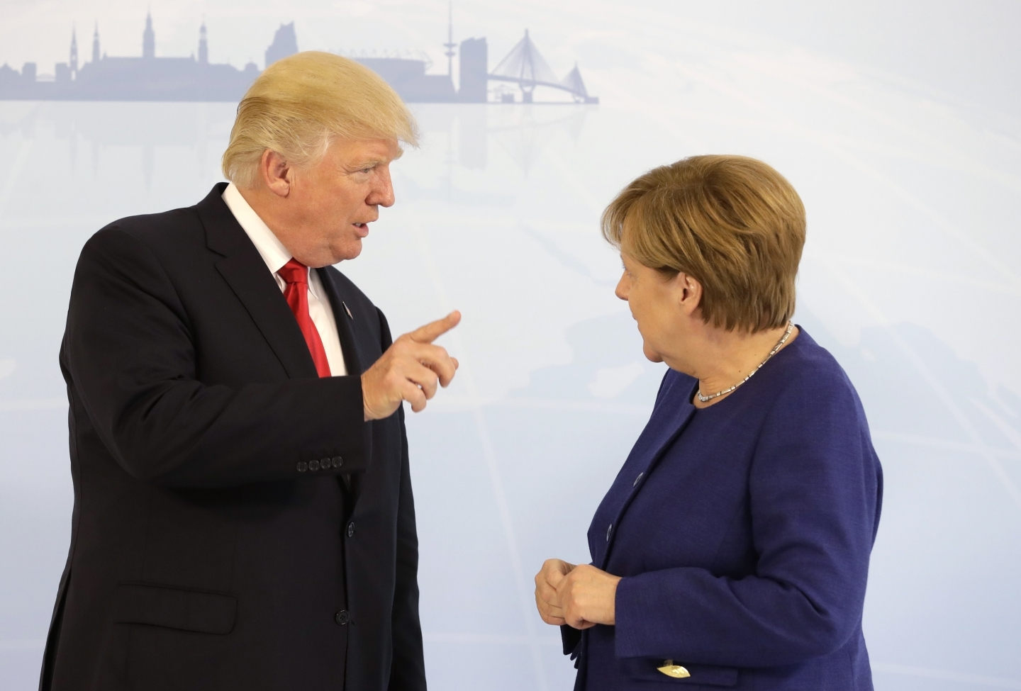 US President Donald Trump and German Chancellor Angela Merkel hold bilateral meeting at G20 summit in Hamburg (AP Photo/Matthias Schrader, pool)