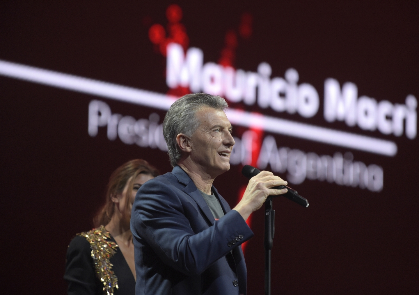 Argentinian President Mauricio Macri speaks during a concert at G20 summit (AP Photo/Jens Meyer)