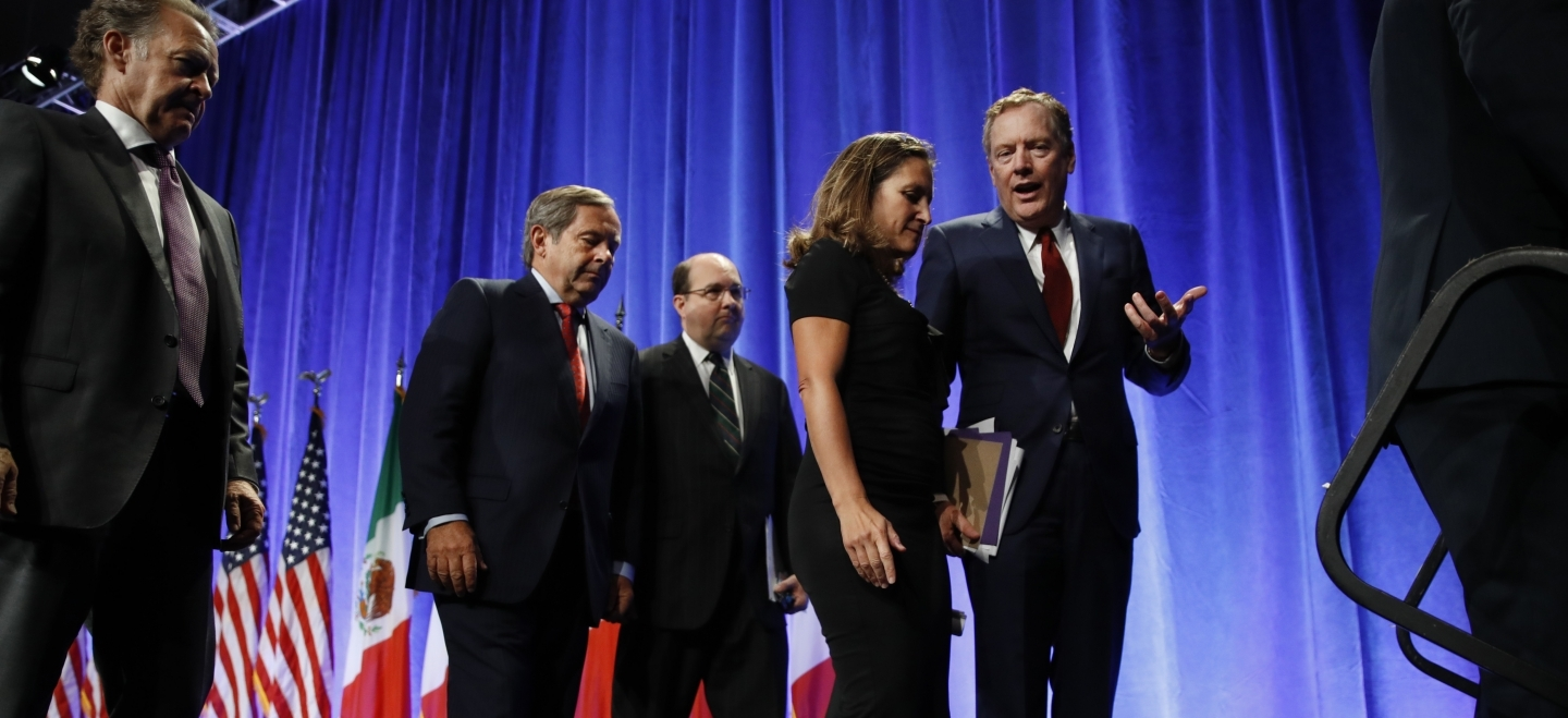 Canada's Minister of Foreign Affairs Chrystia Freeland and US Trade Representative Robert Lighthizer are tasked with renegotiating a modernized NAFTA that accounts for digital trade and intellectual property. (AP Photo/Jacquelyn Martin)