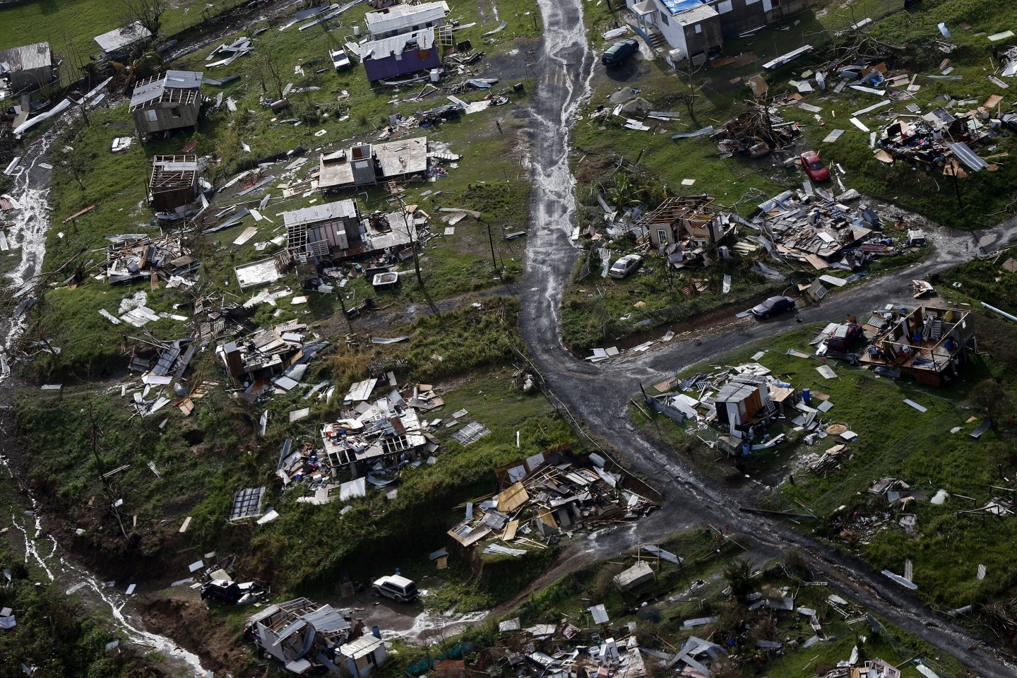 The aftermath of Hurricane Maria in Toa Alta, Puerto Rico, on Thursday, Sept. 28, 2017. (AP Photo/Gerald Herbert)