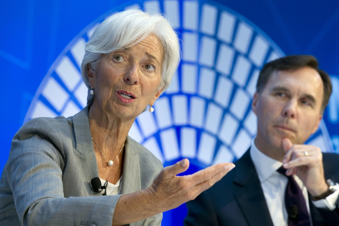 IMF Managing Director Christine Lagarde and Canada Finance Minister William Morneau at the IMF/World Bank meetings in Washington, Thursday, Oct. 12, 2017. (AP Photo/Jose Luis Magana)