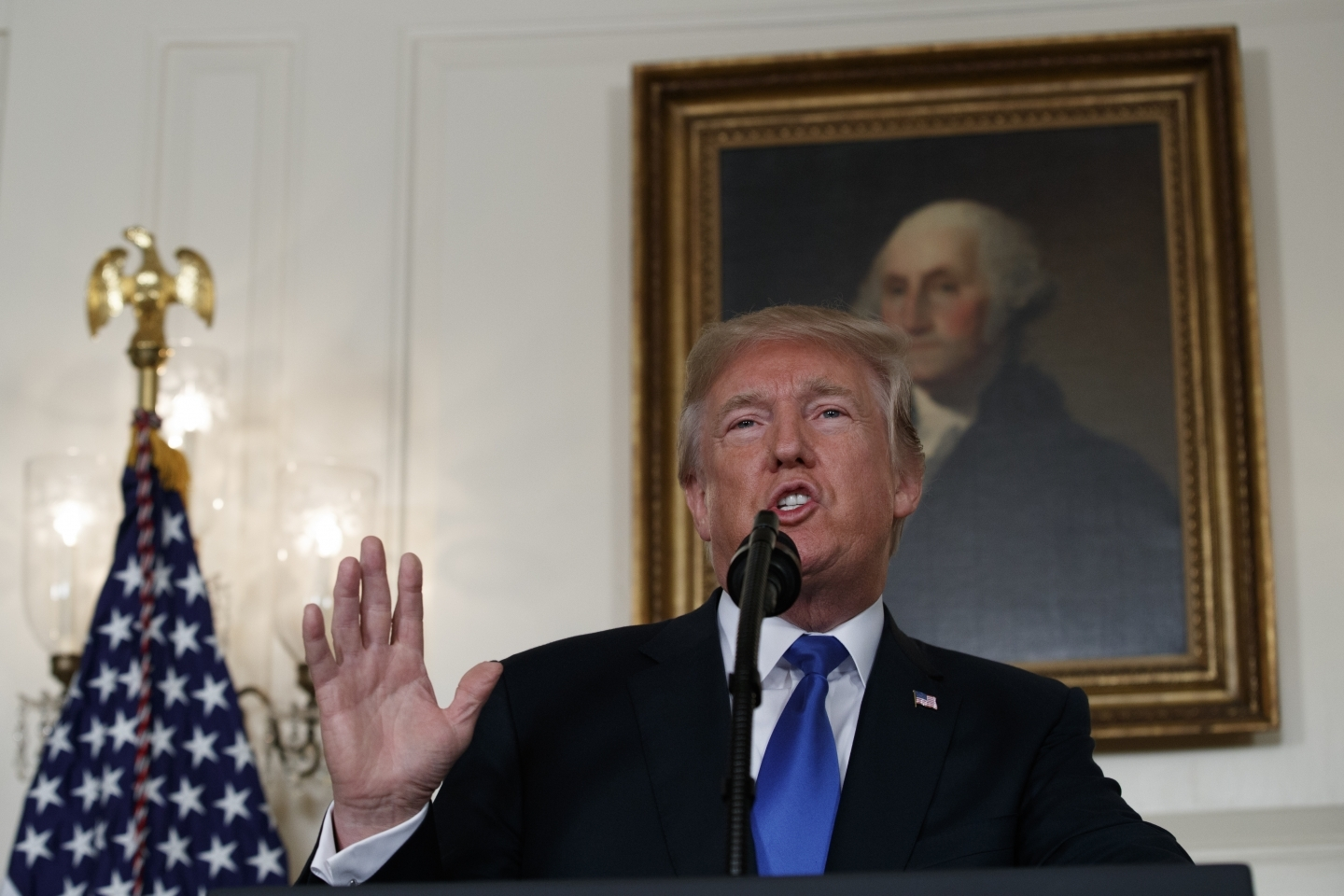 President Donald Trump makes a statement on Iran policy on Friday, Oct. 13, 2017, in Washington. (AP Photo/Evan Vucci)