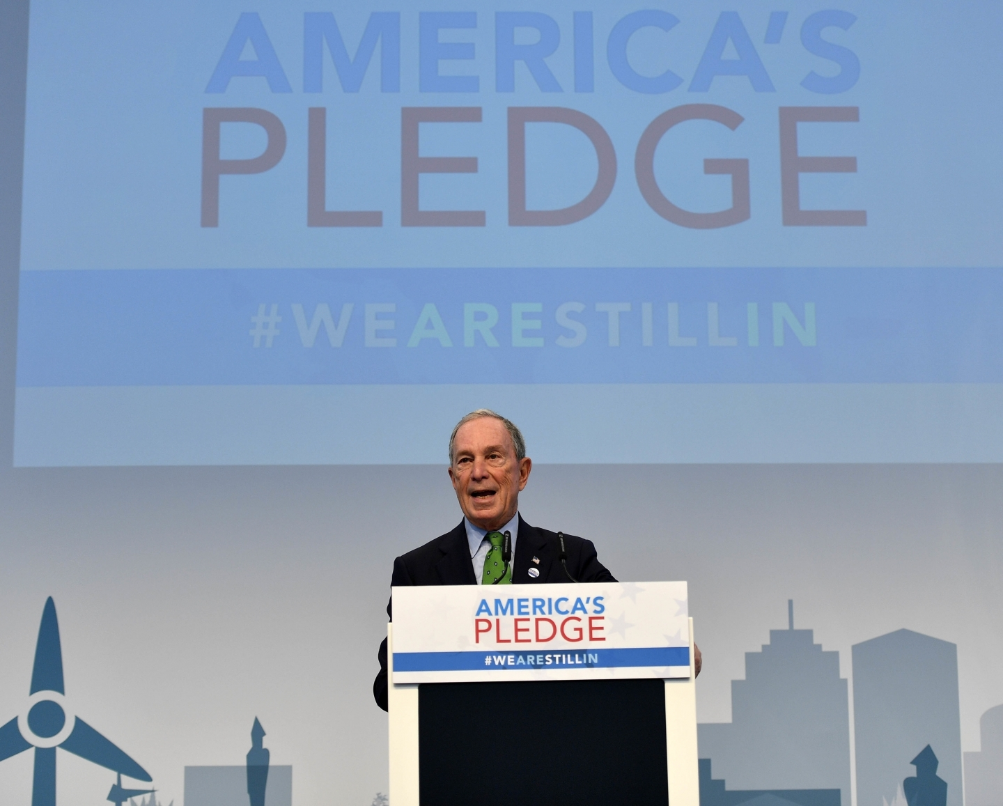 Former New York Mayor Michael Bloomberg speaks in the US Climate Action Center at COP23 in Bonn, Germany, Saturday, Nov. 11, 2017. (AP Photo/Martin Meissner)