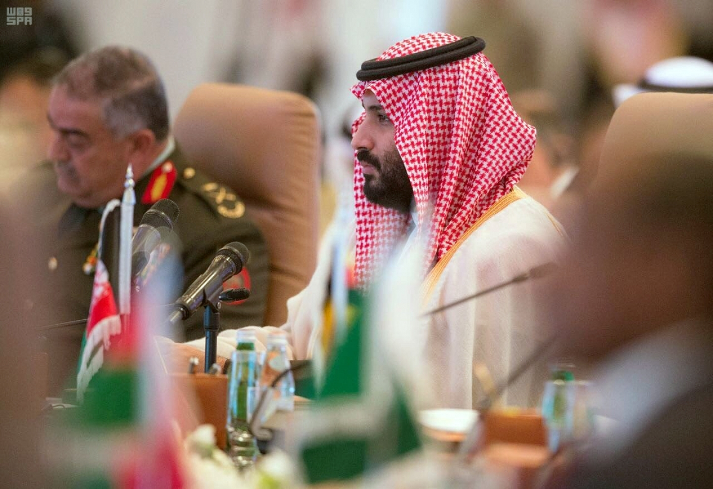 Saudi Crown Prince Mohammed bin Salman speaks at a meeting of the Islamic Military Counterterrorism Alliance in Riyadh, Saudi Arabia. (Saudi Press Agency via AP)