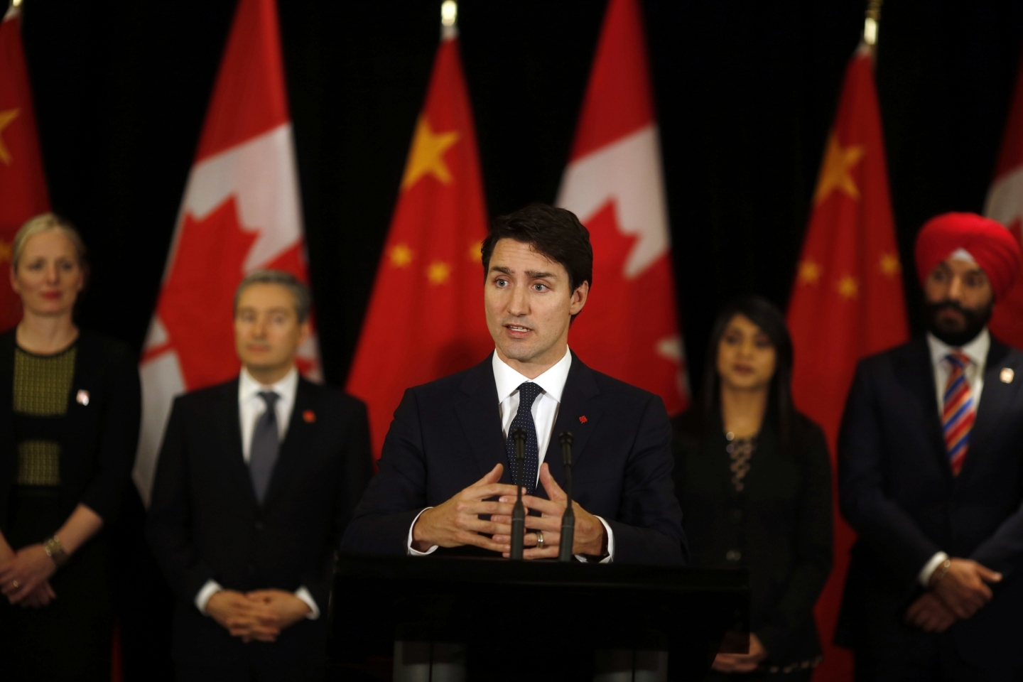 Canadian Prime Minister Justin Trudeau speaks to the media in China on December 5, 2017. (AP Photo/Ng Han Guan)