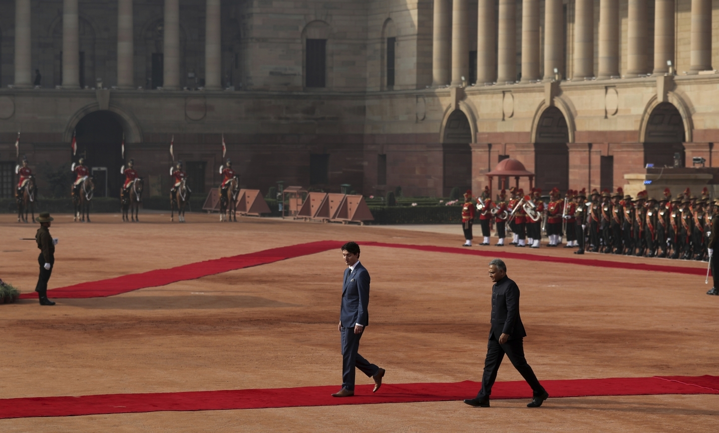 Canadian Prime Minister Justin Trudeau during his ceremonial reception at the Indian presidential palace in New Delhi, India, February 23, 2018. (AP Photo/Manish Swarup)
