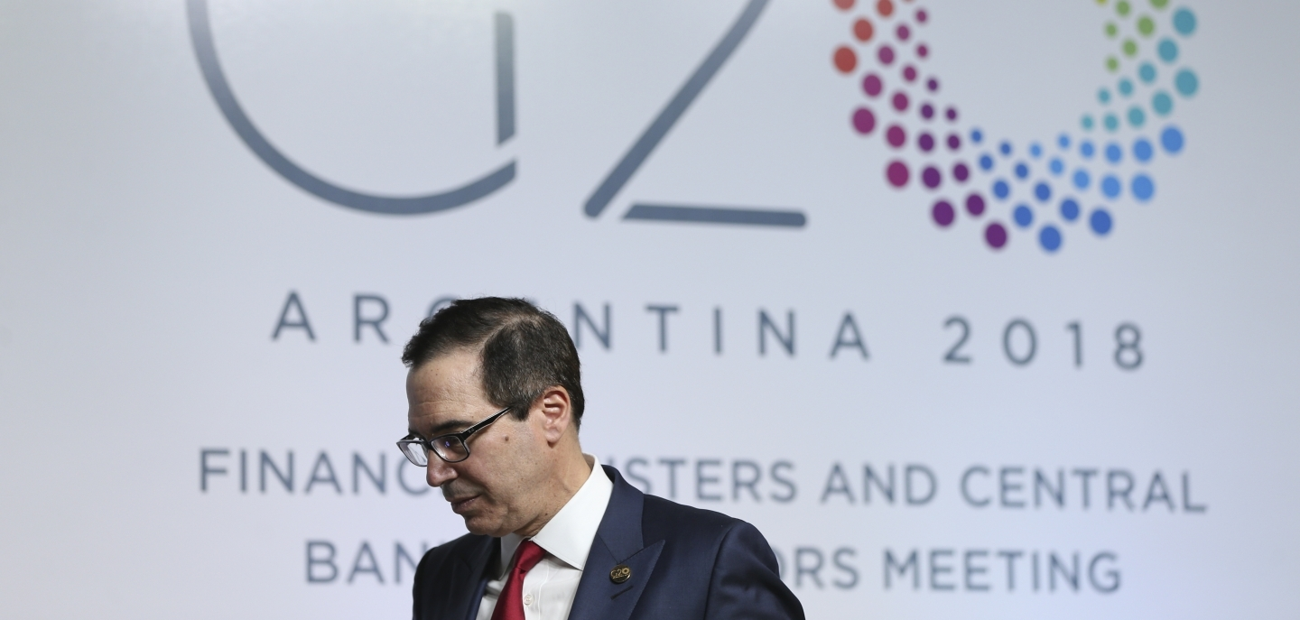 US Treasury Secretary Steven Mnuchin at the G20 finance ministers and central bankers summit in Buenos Aires on March 20, 2018. (AP Photo/Natacha Pisarenko)