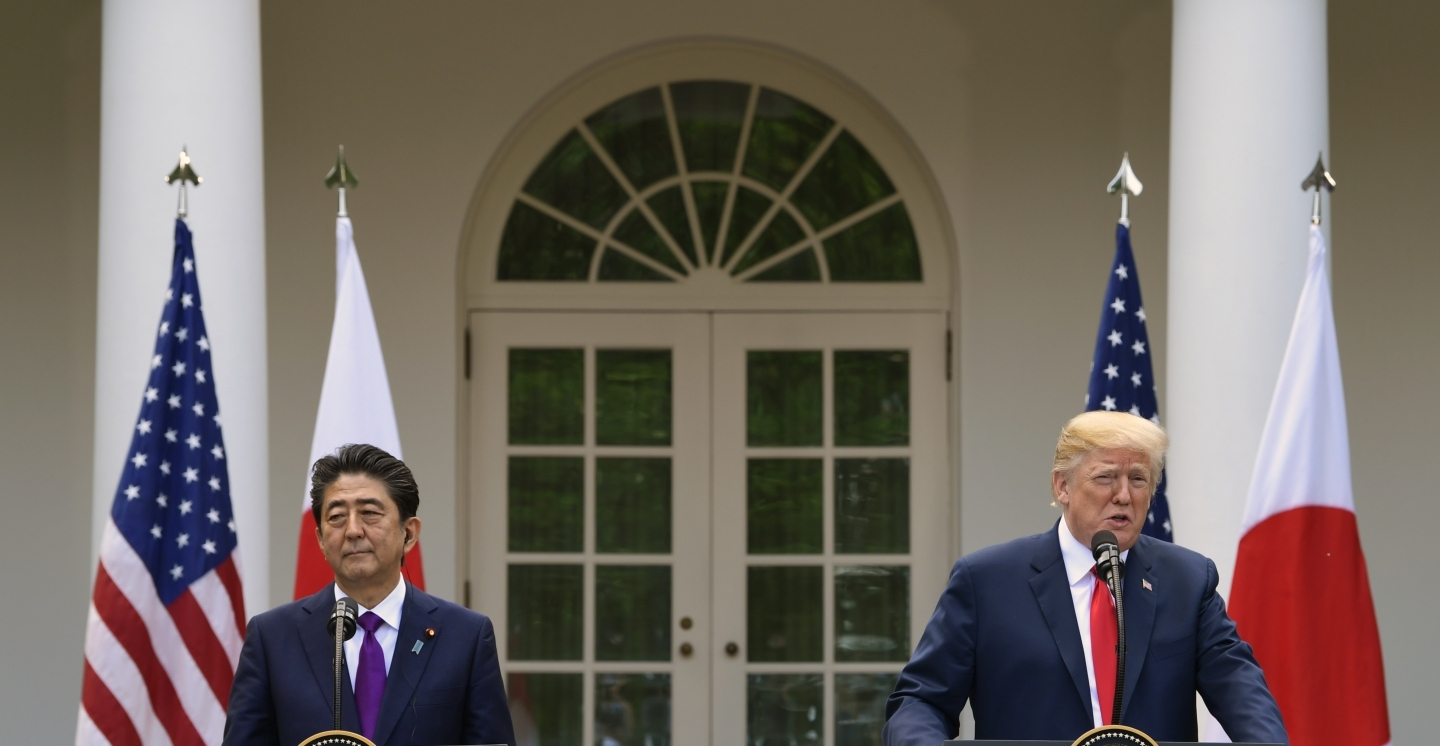 President Donald Trump and Japanese Prime Minister Shinzo Abe speak during a news conference in the Rose Garden of the White House in Washington, on June 7, 2018. (AP Photo/Susan Walsh)