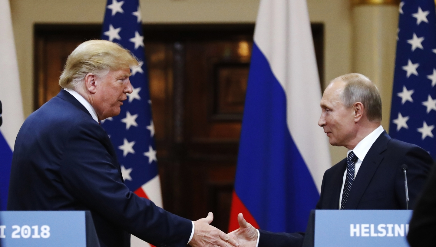 US President Donald Trump and Russian President Vladimir Putin meet in Helsinki, Finland, July 16, 2018. (AP Photo/Pablo Martinez Monsivais)