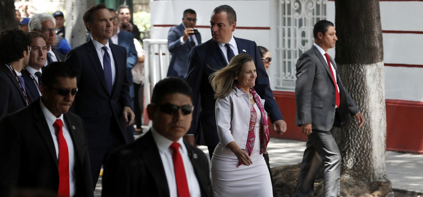 Canada's Foreign Affairs Minister Chrystia Freeland leaves a visit to Mexico's President-elect Andres Manuel Lopez Obrador in Mexico City, Wednesday, July 25, 2018. (AP Photo/Eduardo Verdugo)
