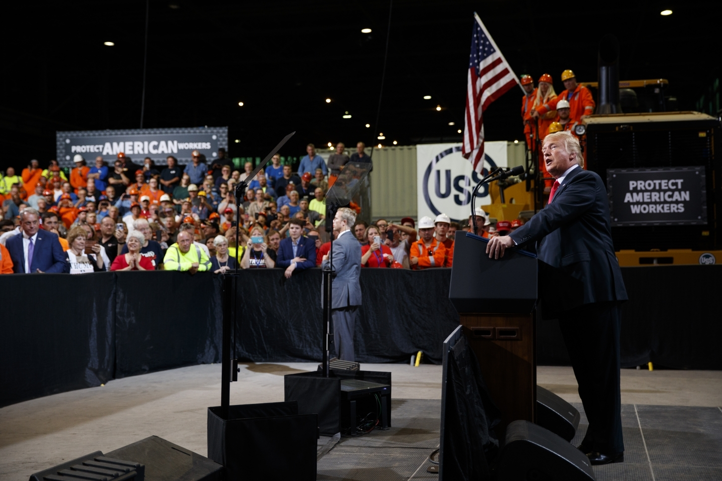 President Donald Trump speaks about trade at Granite City Works Steel Coil Warehouse on July 26, 2018, Granite City, Illinois. (AP Photo/Evan Vucci)