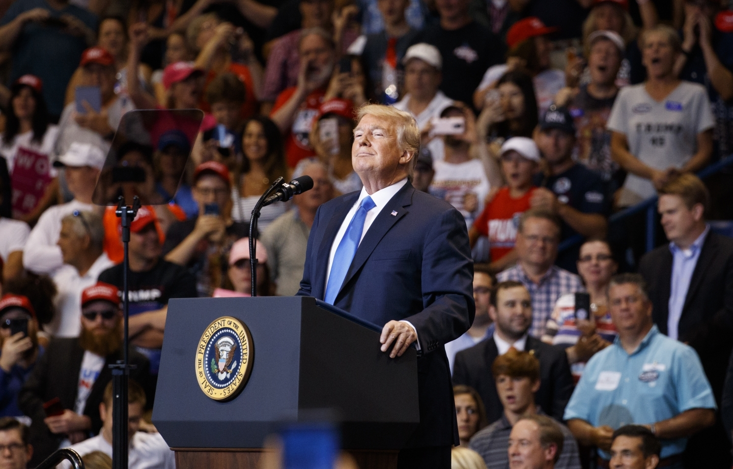 President Donald Trump pauses during a Pennsylvania rally on August 2, 2018. (AP Photo/Carolyn Kaster)