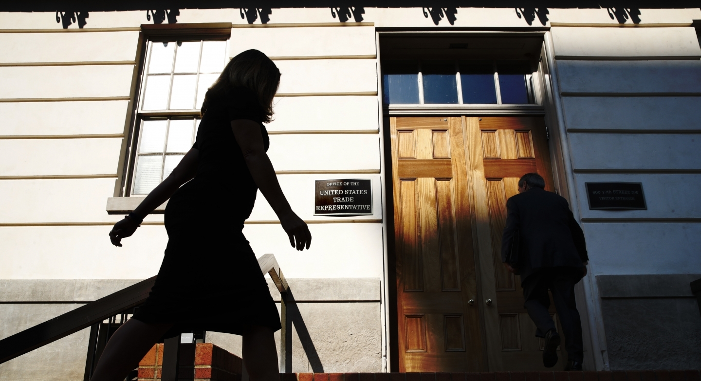 Canada's Foreign Affairs Minister Chrystia Freeland arrives at the Office of the United States Trade Representative on August 29, 2018. (AP Photo/Jacquelyn Martin)