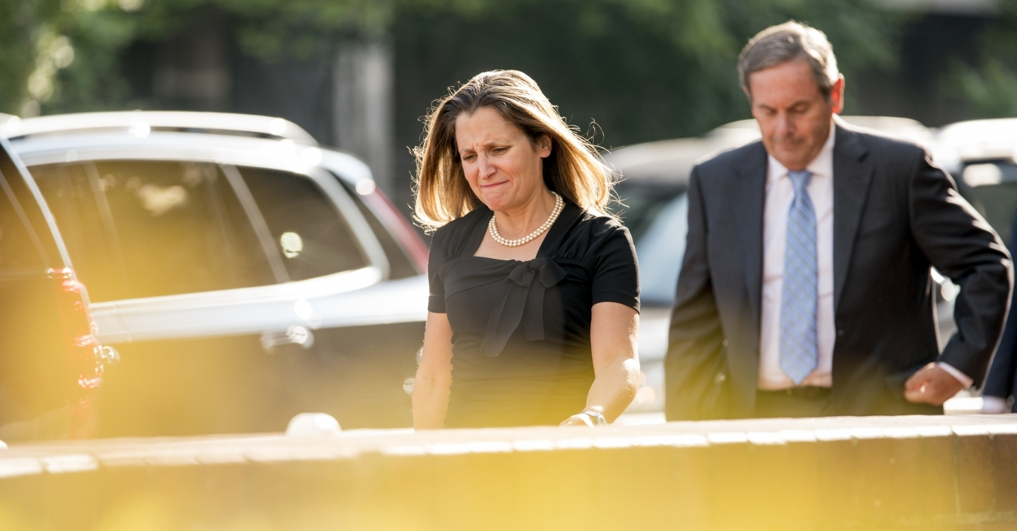 Canada's Foreign Affairs Minister Chrystia Freeland at the office of the United States Trade Representative on August 29, 2018, during trade talks in Washington. (AP Photo/Andrew Harnik)