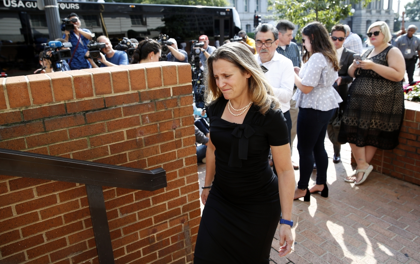 Canadian Foreign Affairs Minister Chrystia Freeland arrives at the Office of the United States Trade Representative on September 19, 2018, in Washington. (AP Photo/Alex Brandon)