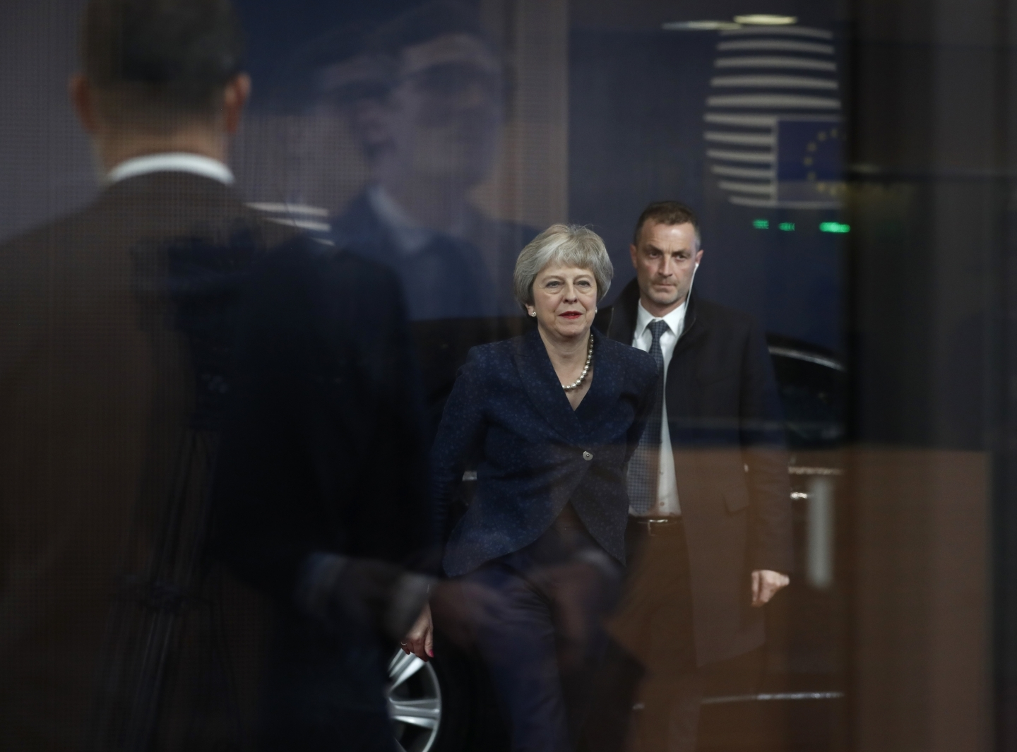 British Prime Minister Theresa May arrives for a meeting with European Council President Donald Tusk on November 24, 2018. (AP Photo/Alastair Grant)